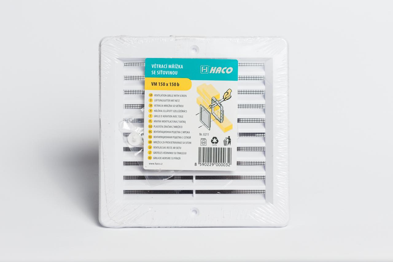 Szellőzőrács rovarhálós 15x15 fehér, beépíthető