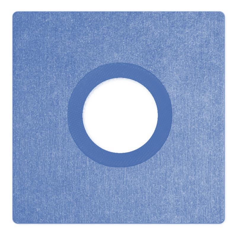 Csőszigetelő mandzsetta kék színű 250x250mm, O 75mm, vastagság 0,6mm