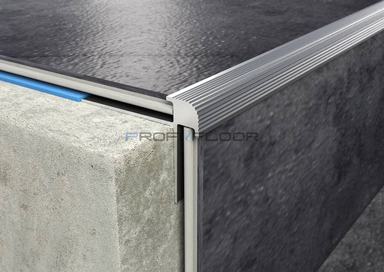 ALU PROFIL PF LVT2 ProfiFloor 2,7m ezüst öntapadós lépcsőprofil - 28,5x26,5x5mm