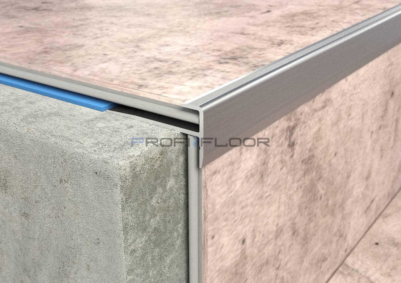 ALU PROFIL PF LVT3 ProfiFloor 2,7m ezüst öntapadós F lépcsőprofil - 28,1x14,3x5mm