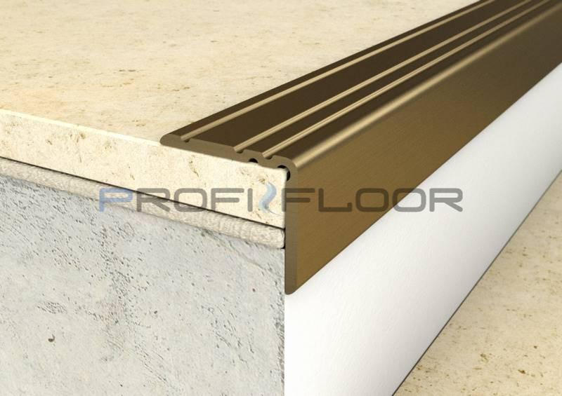 ALU PROFIL PF10 ProfiFloor 2,7m bronz öntapadós padlóprofil - 25x20mm