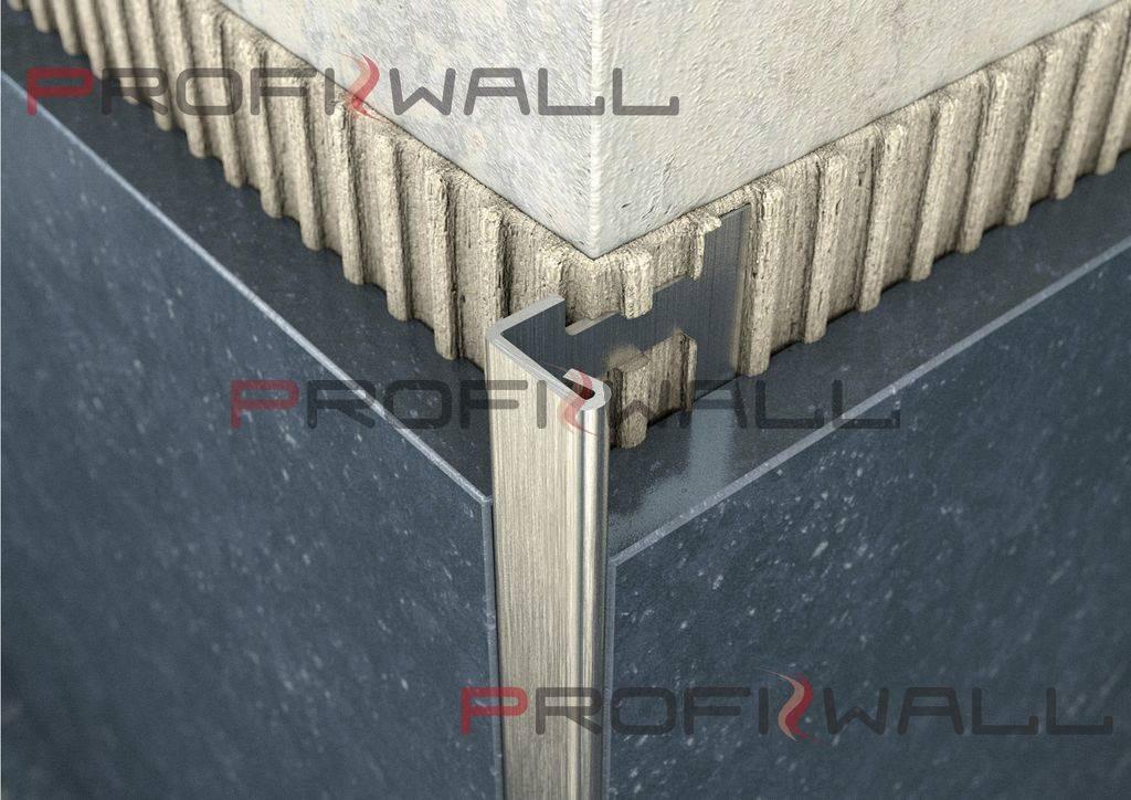 ACÉL L 12,5mm profil ProfiWall 2,5M rozsdamentes acél - szálcsiszolt